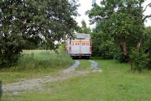 Brandbilen återigen inbackad på vår infart. Den här gången behövdes inga brandslangar.